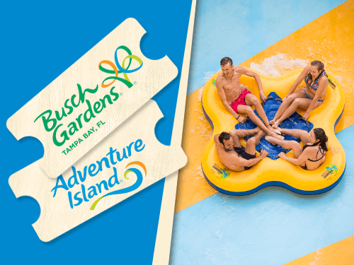 Enjoy one visit to Busch Gardens Tampa Bay and one visit to Adventure Island with this discounted Multi-Day Ticket
