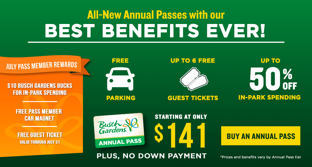 All-New Annual Passes with our Best Benefits Ever! Starting at only $12.00 per month