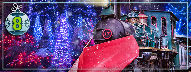 Enjoy a lighted holiday train experience on the Christmas Town Express