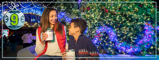 Our 50-foot Christmas Tree dances to music every 30 minutes during Christmas Town