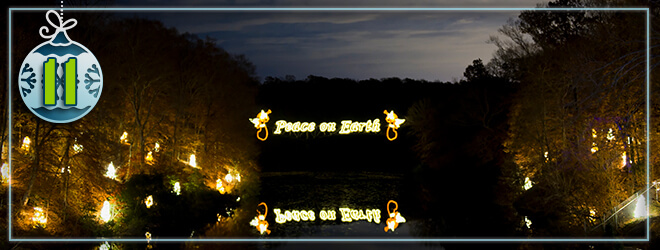 Marvel at the Peace on Earth sign across the water