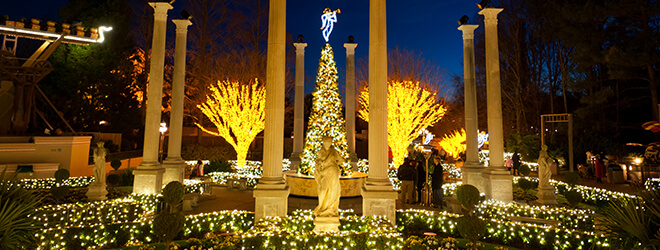 Italy Gardens light display at Busch Gardens Williamsburg during Christmas Town