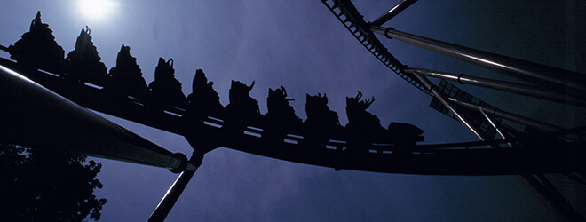 Take a ride on a coaster at night at Busch Gardens in Virginia