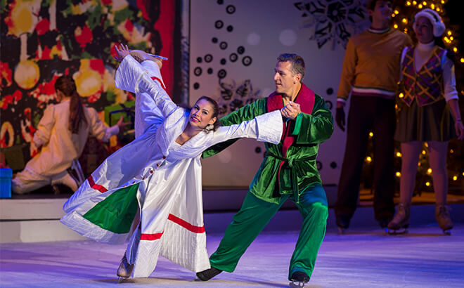 Elvis Stojko and Gladys performing in Busch Gardens Christmas Town 'Twas That Night ice show