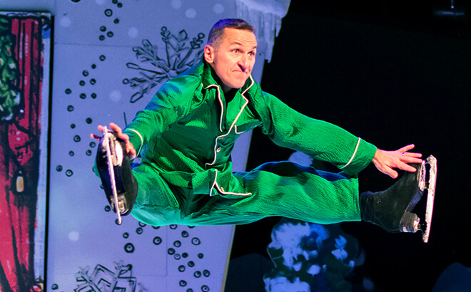 Elvis Stojko doing the splits while performing in 'Twas That Night ice show at Busch Gardens Williamsburg