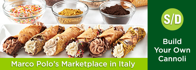 Build your own cannoli dessert at Marco Polo's Marketplace