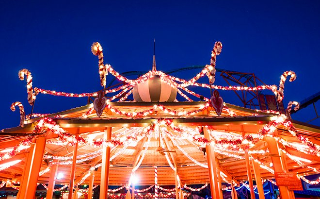 Holiday Hills and Peppermint Twist during Christmas town at Busch Gardens Williamsburg