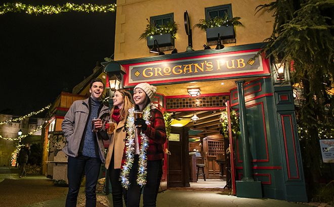 Gorgan's Pub during Chrismas Town at Busch Gardens Williambsburg