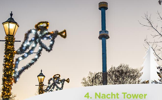 Busch Gardens Williambsurg Nacht Tower Macht Tower during Christmas Town