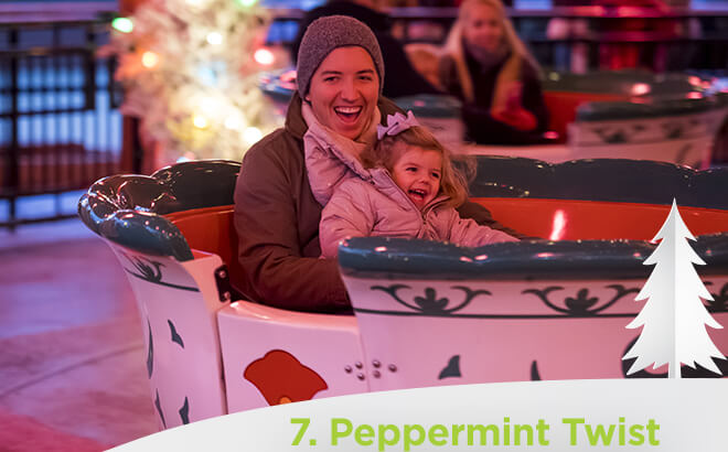 Busch Gardens Williambsurg Peppermint Twist Spinning Teacups ride during Christmas Town