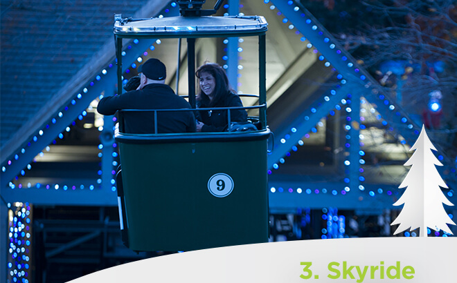 Busch Gardens Williambsugr Sky Ride during Christmas Town