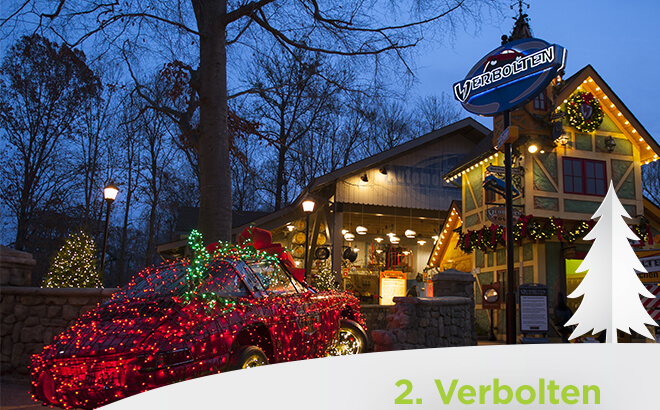 Busch Gardens Williamsburg Verboten Rollercoaster entrance during Christmas Town