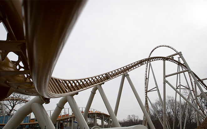 Completed portion of inversion track of Pantheon roller coaster, opening this spring at Busch Gardens Williamsburg