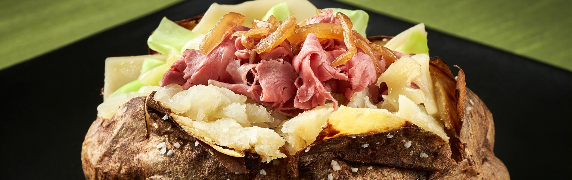 Enjoy Irish specialties, loaded baked potatoes and more