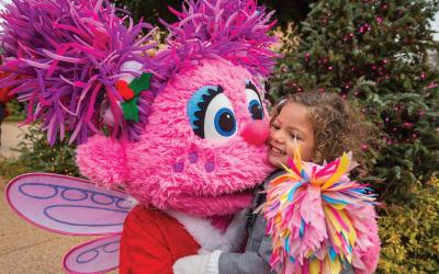 Abby Cadabby from Sesame Street meeting a fan