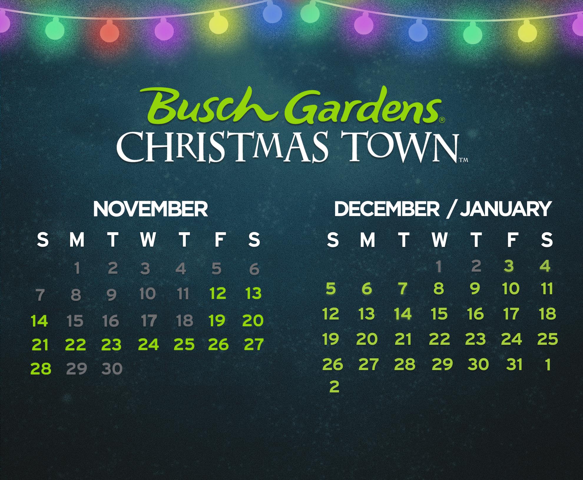 Busch Gardens Williamsburg 2021 Christmas Town Calendar