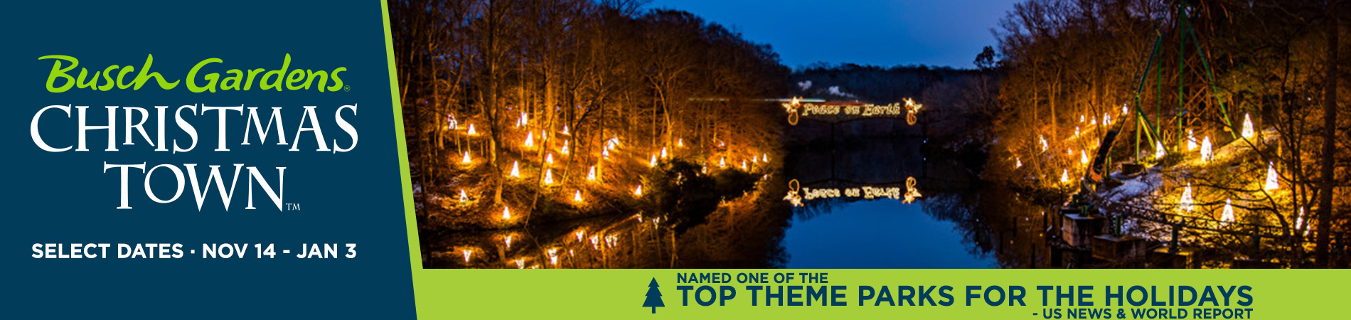 Christmas Town at Busch Gardens Williamsburg - Featuring over 10 Million dazzling lights!