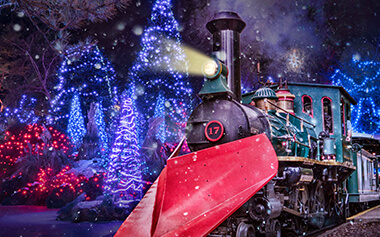 Christmas Town Express holiday train experience at Busch Gardens in Virginia
