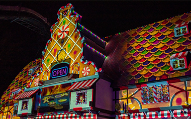 Christmas projection mapping experience at Busch Gardens Williamsburg