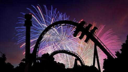 Fireworks bursting behind Griffon and Mach Tower
