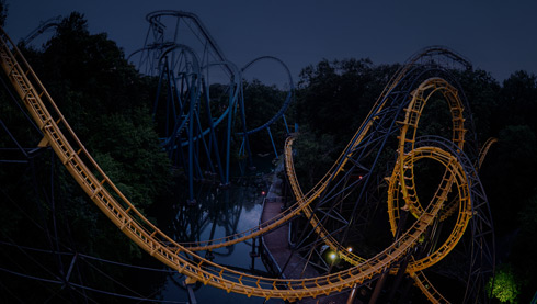 Lochness Monster and Griffon Coasters in the dark
