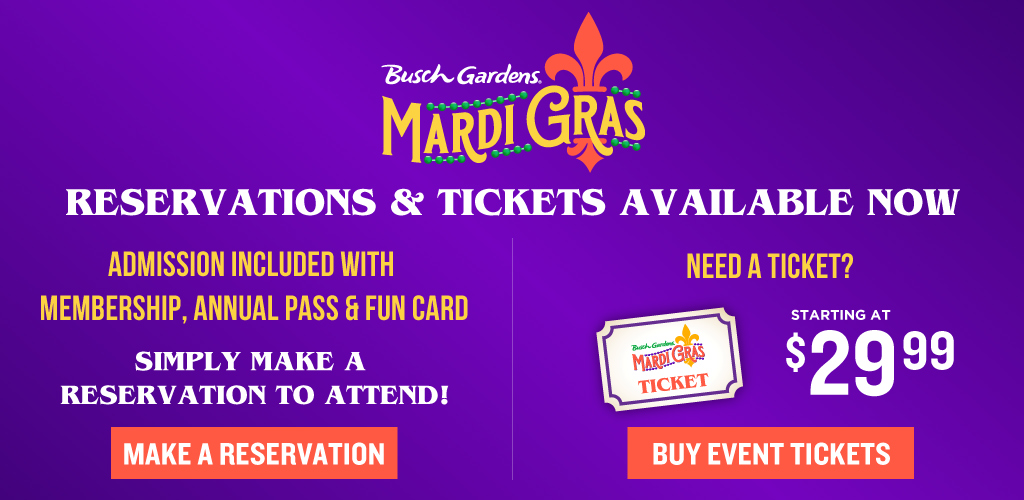Busch Gardens Mardi Gras Event Tickets On Sale Now! Starting at $34.99