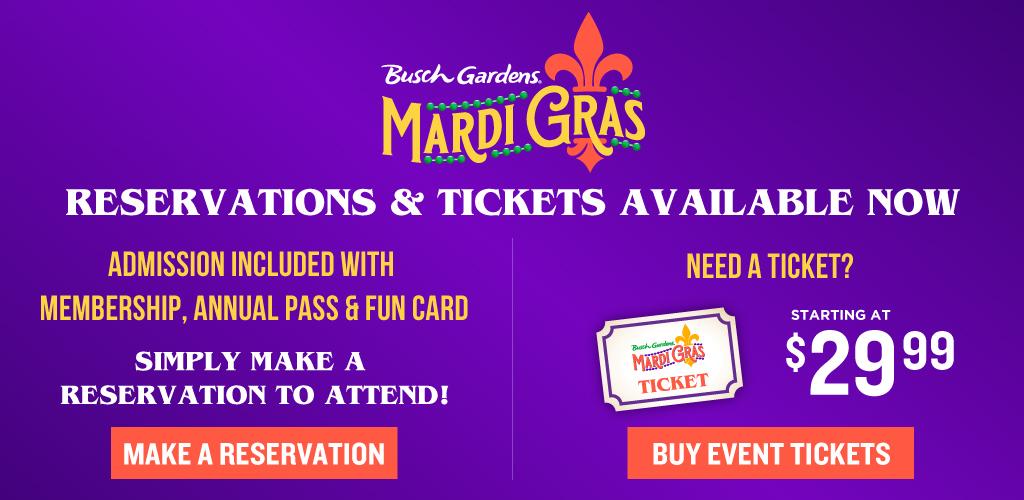 Busch Gardens Mardi Gras Event Tickets On Sale Now! Starting at $34.99
