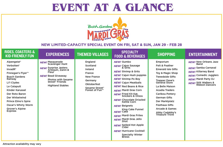 Busch Gardens Mardi Gras event at a glance