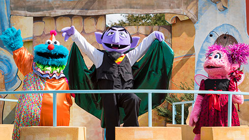 The Count and his other Sesame Street friends performing in Countdown to Halloween, performed during The Count's Spooktacular