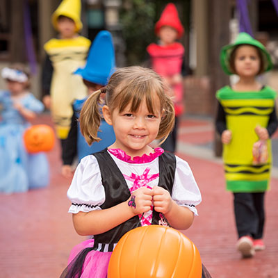 Little witch dressed up for The Count's Spooktacular at Busch Gardens Williamsburg