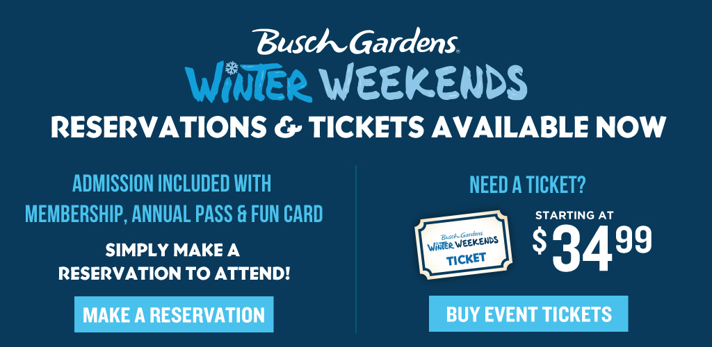 Busch Gardens Wild Weekends Event Tickets On Sale Now! Starting at $34.99