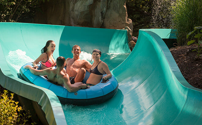 Take a ride down this water slide, Big Daddy Falls