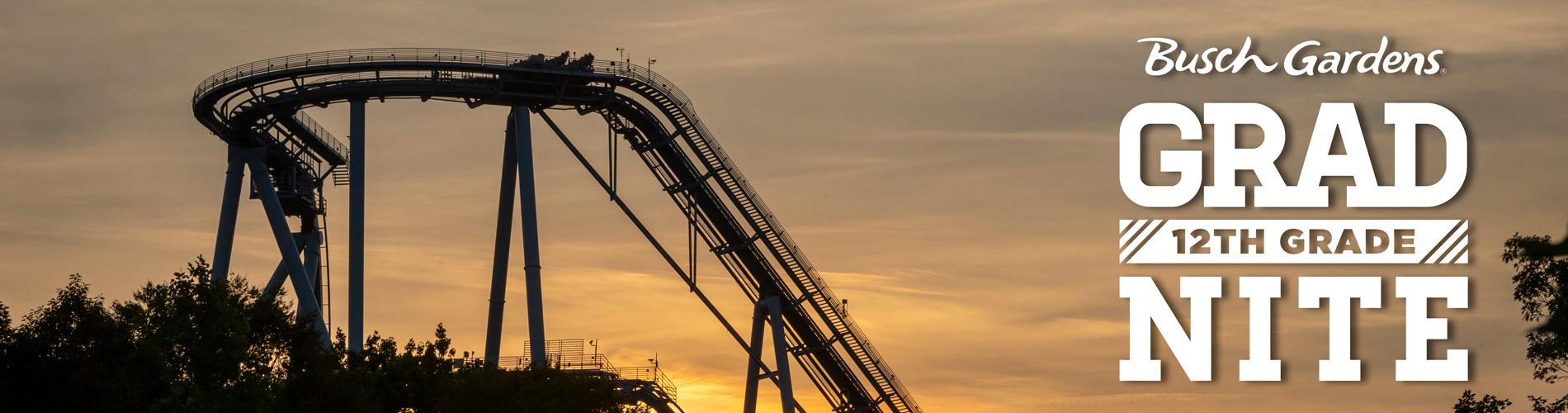 Griffon during sunset with the Busch Gardens Grad Nite Logo