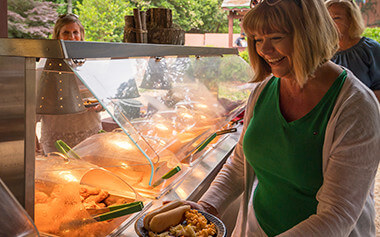 Enjoy an all-you-care-to-eat buffet in the Black Forest Picnic Area