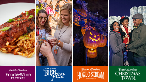 See the variety of events throughout the year at Busch Gardens Williamsburg in Virginia