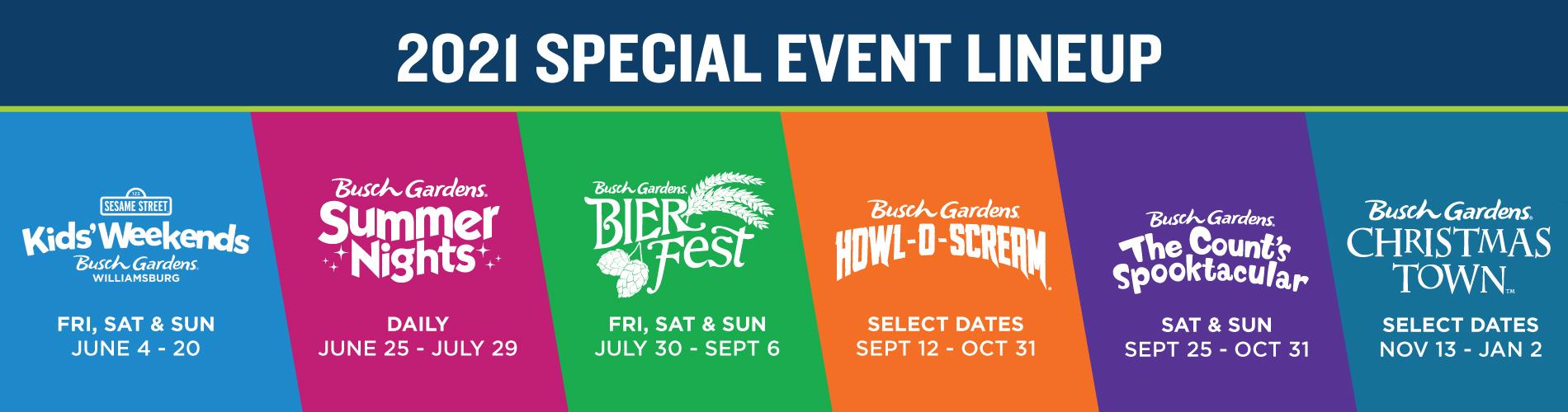 2021 Special Event Lineup at Busch Gardens