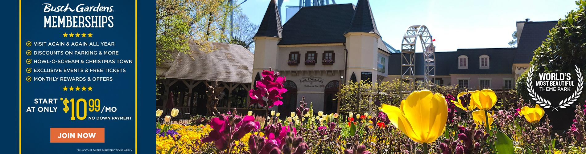 Busch Gardens Williamsburg Membership Plans starting at $10.99/month.