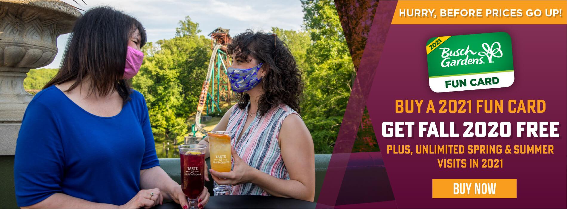 Busch Gardens Williamsburg & Water Country USA 2021 Fun Card Sale