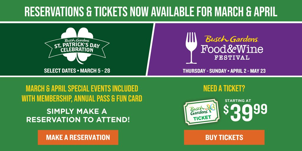 Busch Gardens March and April Tickets availabe now! Starting at $39.99