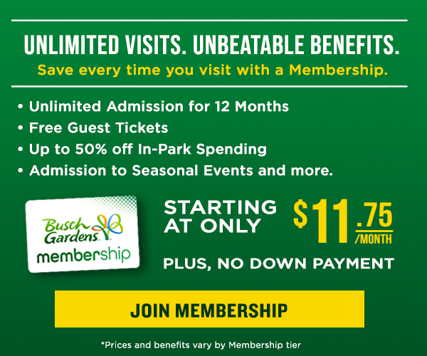 All-New Busch Gardens Memberships with our Best Benefits Ever! Starting at Only $11.75/mo with no down payment!