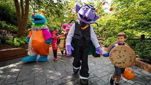 Join the Count and Sesame Street friends at a Halloween event for kids
