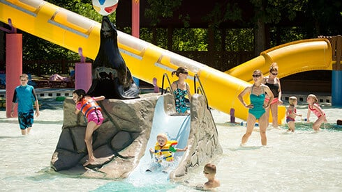 Water slides, play areas and playgrounds for kids