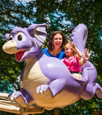 Enjoy kid-friendly attractions in our play area, Land of the Dragons