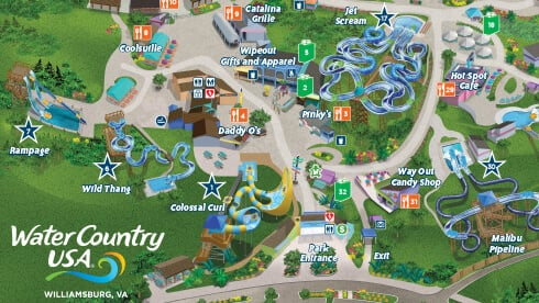 Find your favorite water slides, kid-friendly splash areas, dining locations and more