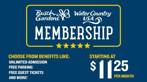Busch Gardens Memberships starting at $10.99 per month.