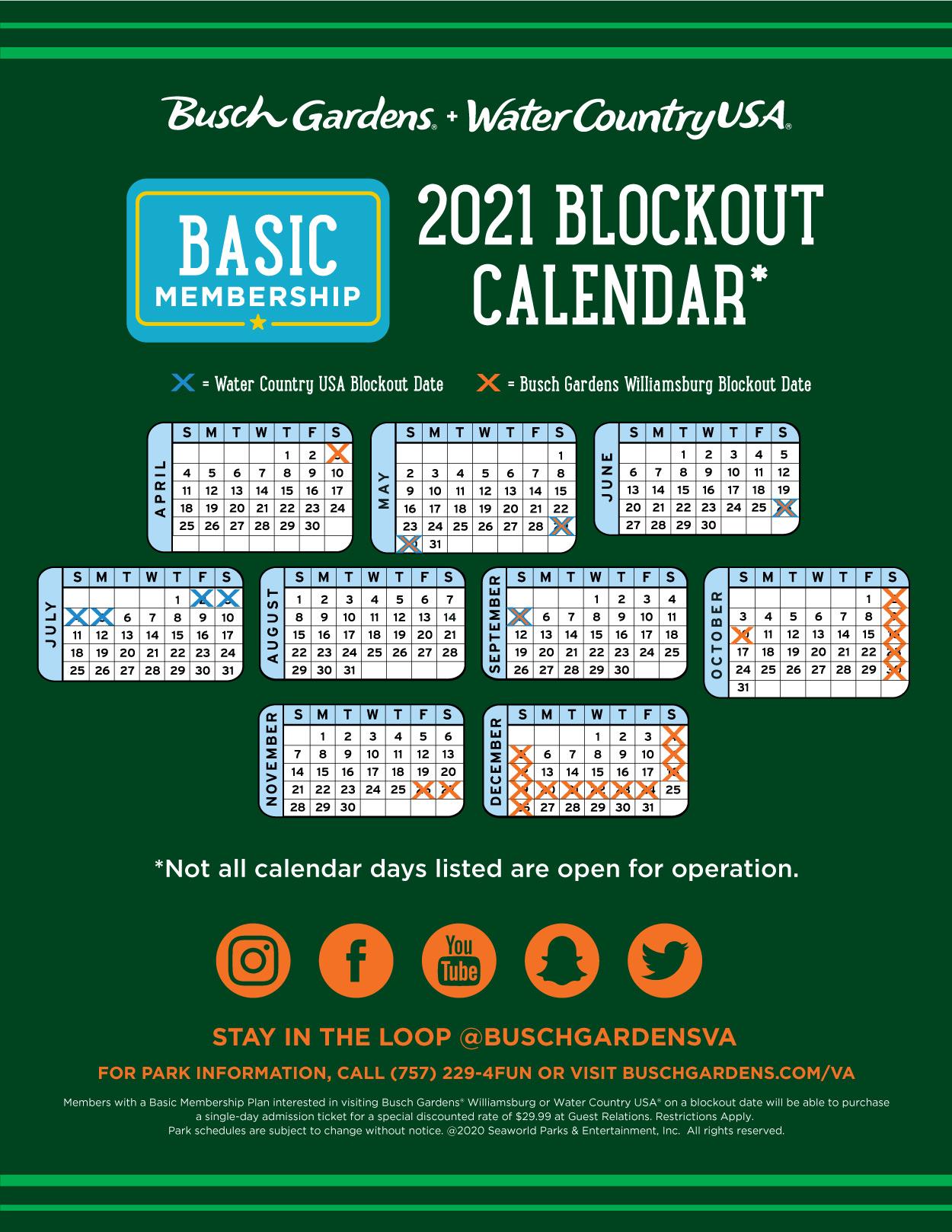 2021 Basic Membership Blockout Dates