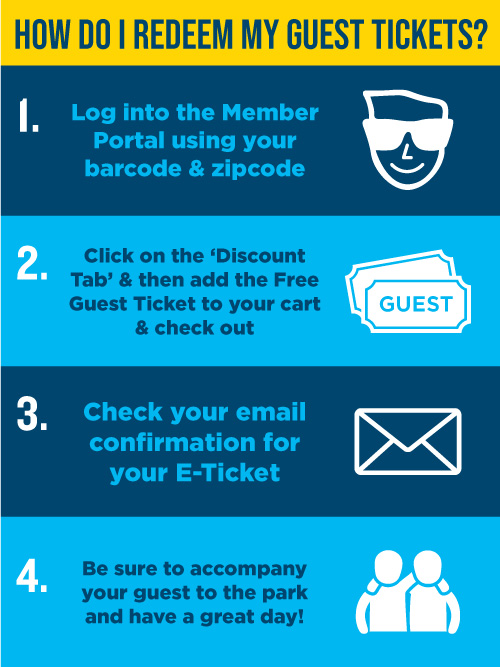 Log in to the Member Portal and Navigate to the Discount Tab to redeem your free guest tickets
