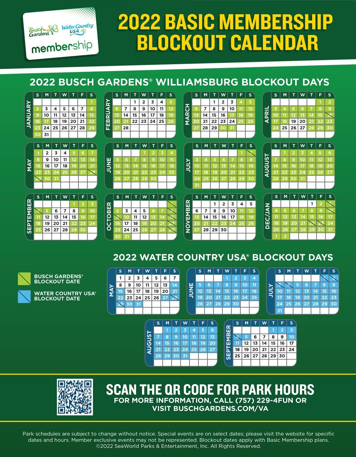 2022 Basic Membership Blockout Dates