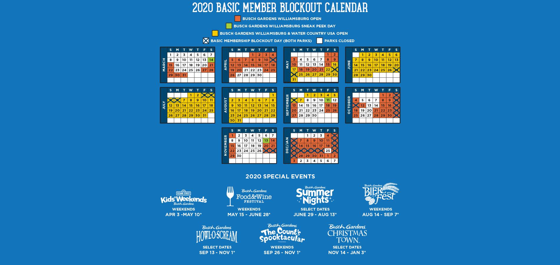 Basic Membership's 2019 Blockout Dates