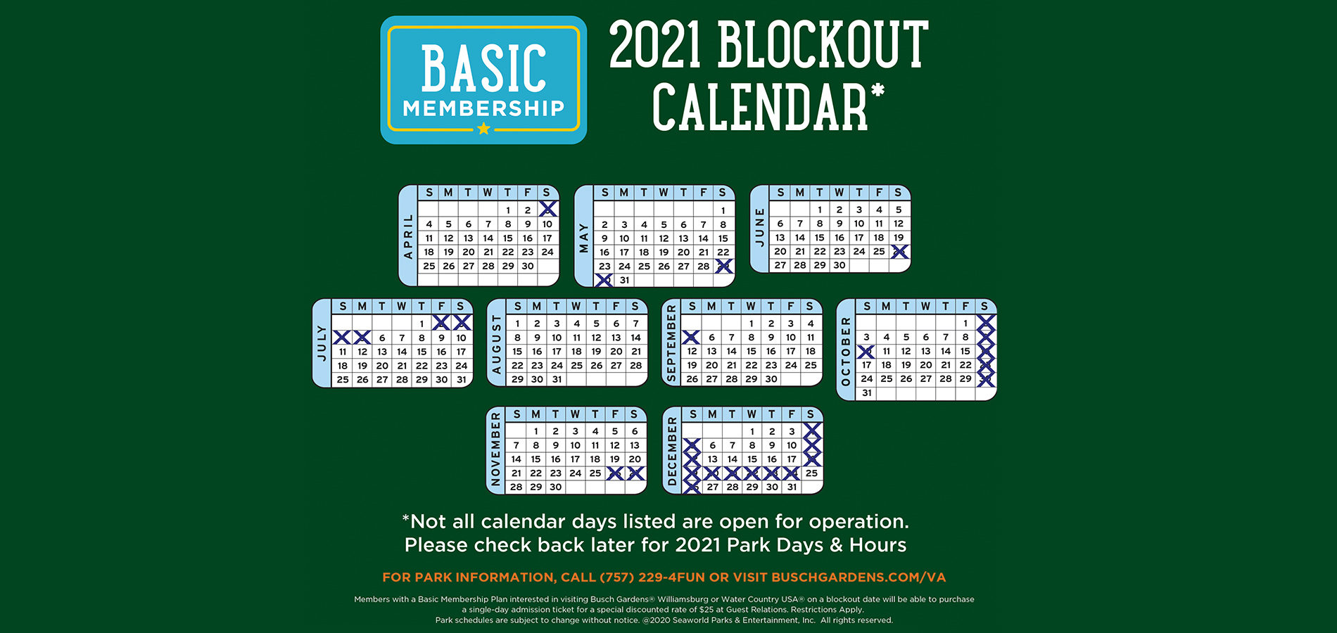 2021 Blockout Calendar for Basic Memberships
